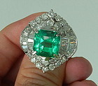 Stunning 7.50ct Colombia Emerald Platinum Ring