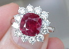 Sensational 3.14ct Unheated Burma Ruby Diamond Ring GIA