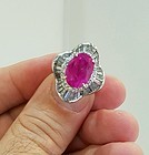 Stunning 6.23ct Pinkish Red Burma Ruby Ring In Platinum