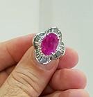 Stunning 6.23ct Pinkish Red Burma Ruby Ring In Platinum