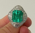 Magnificent 14.58ct Colombia Emerald Platinum Ring GIA