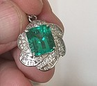 Stunning 4.65ct Colombia Emerald Platinum Pendant GIA