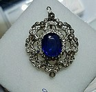 Stunning Antique Unheated 9.16ct Burma Sapphire Pendant GIA