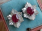 Magnificent Unheated 5.10ct Burma Ruby Earrings GIA