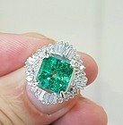 Exquisite 3.44ct Colombia Emerald Platinum Ring