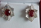 Magnificent 5.19ct Unheated Burma Pigeons Blood Ruby Earrings