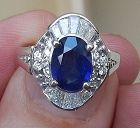 Gorgeous 1.86ct Blue Sapphire & Diamond Platinum Ring