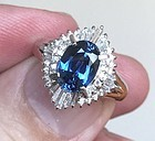 Beautiful 2.25ct Unheated Blue Sapphire & Diamond Platinum Ring