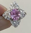 Stunning 3.08ct Pink Sapphire & Diamond Platinum Ring