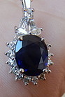 Exquisite 2.00ct Blue Sapphire & Diamond Platinum Pendant