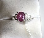 Superb 3.50ct Unheated Burma Star Ruby Platinum Ring