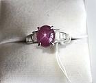 Superb 3.50ct Burma Star Sapphire Platinum Ring