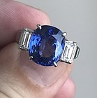 Stunning 5.92ct Blue Sapphire Diamond & Platinum Engagement Ring