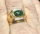 Superb Estate Mens Grade A Jade & Diamond 18k Ring