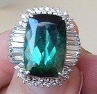 Beautiful Estate 10.64ct Green Tourmaline & Diamond Platinum Ring
