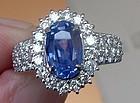 Gorgeous 4.04ct Cornflower Blue Sapphire Platinum Ring