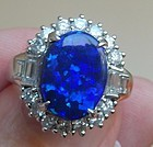 Breathtaking Australian Blue Opal & Diamond Platinum Ring