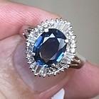 Very Pretty 2.10ct Blue Sapphire & Diamond Platinum Ring