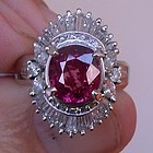 Beautiful 2.04ct Ruby & Diamond Platinum Ring