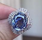 Gorgeous 10.84ct Unheated Cornflower Blue Sapphire & Diamond Ring
