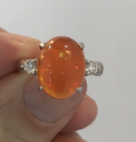 Beautiful 7.00ct Mexico Fire Opal & Diamond Ring In Platinum