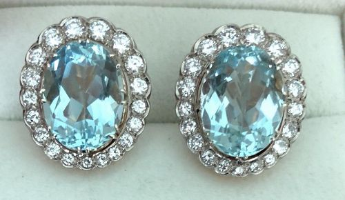 Beautiful Antique 20ct Aquamarine & Diamond Earrings By Hingelberg Den