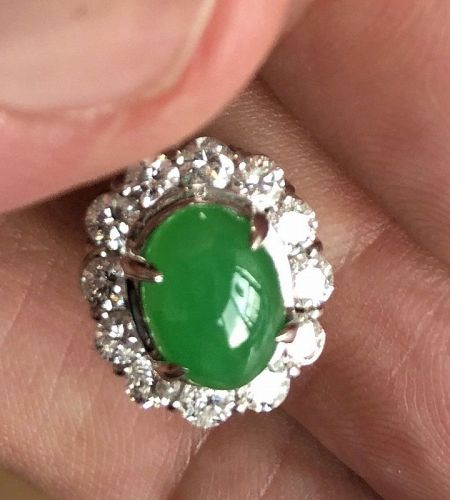 Beautiful 2.10ct Grade A Jade Platinum Diamond Pendant