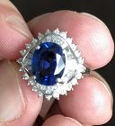 Absolutely Stunning 3.84ct Blue Sapphire Platinum & Diamond Ring