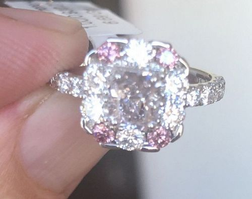 Exquisite 1.00ct Natural Color Light Purple Pink Diamond Platinum Ring