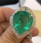 Magnificent 26.87ct Colombia Emerald & Diamond Platinum Ring GIA
