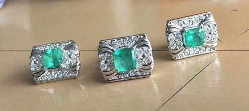 Superb Colombia Emerald & Diamond Platinum Cufflinks & Tie Pin