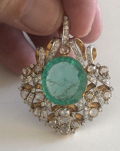 Magnificent Antique 10ct Old Mine Colombian Pendant/Brooch GIA