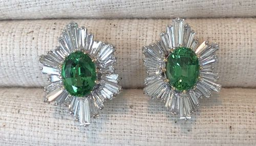 Magnificent 5.16ct Tsavorite and Diamond 18k Earrings