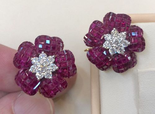 Magnificent Invisibly Set 20.50ct Burma Ruby & Diamond 18k Gold Earrin