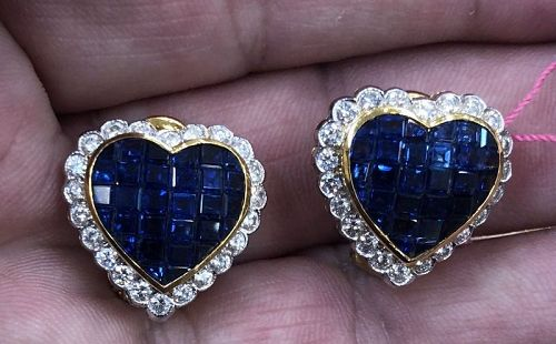 Magnificent Invisibly Set 10.30ct Blue Sapphire & Diamond 18k Gold Ear