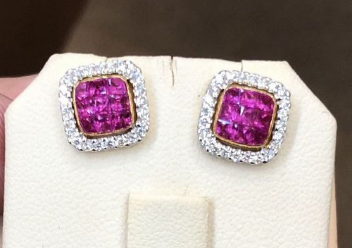 Beautiful Invisibly Set Pink Sapphire & Diamond 18k Gold Earrings