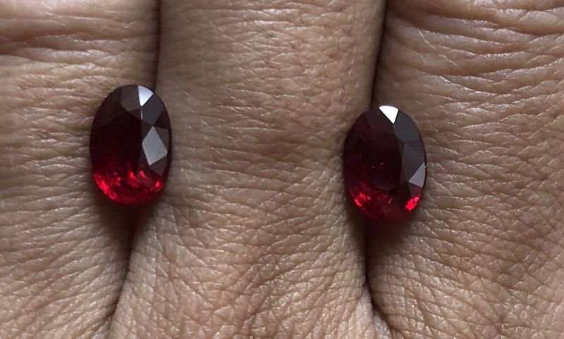 Magnificent Unheated Pigeons Blood Ruby Pair 4.05ct & Certificates
