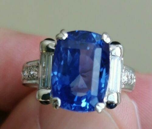 Stunning Unheated 6.36ct Cornflower Blue Sapphire Platinum Diamond GIA