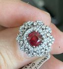 Stunning Unheated Burma 1.37ct Pigeons Blood Ruby & Diamond Ring GRS C