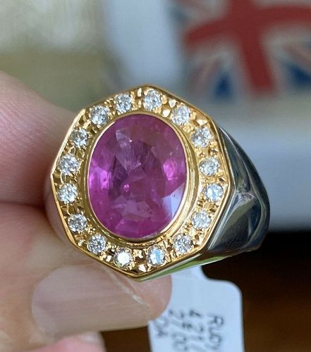 Superb 4.21ct Burma Ruby 18k & Platinum Unisex Ring