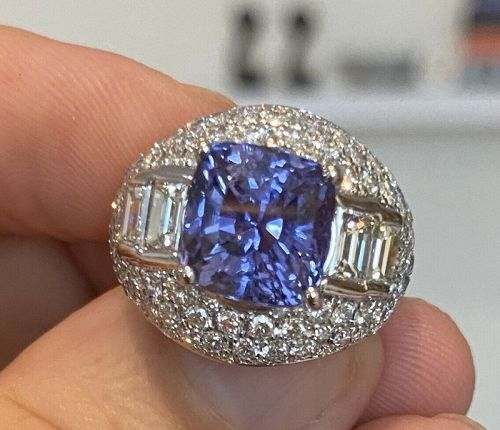 Sensational Unheated 7.02ct Blue Sapphire Platinum & Diamond Ring GIA