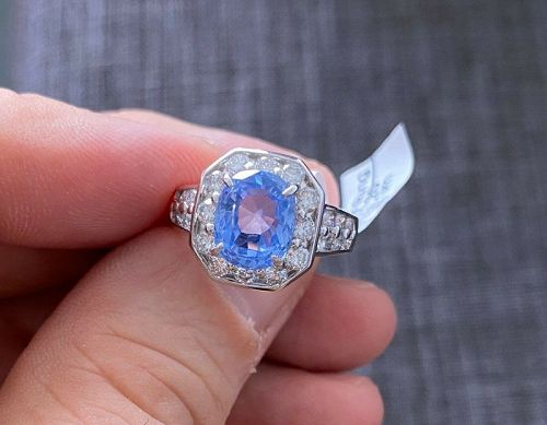 Sensational Unheated 4.46ct Blue Sapphire Platinum & Diamond Ring GIA