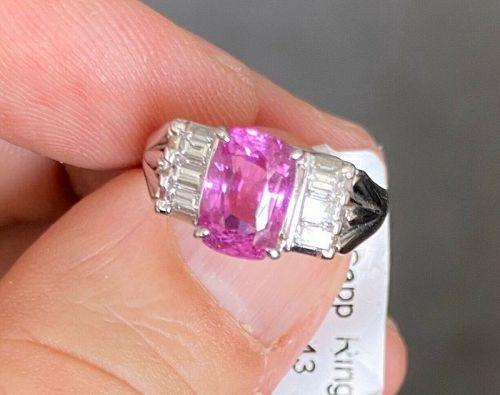 Stunning 2.50ct Pink Sapphire & Diamond Platinum Ring