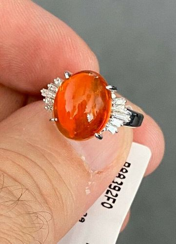 Exquisite 3.92ct Mexico Fire Opal & Diamond Ring In Platinum
