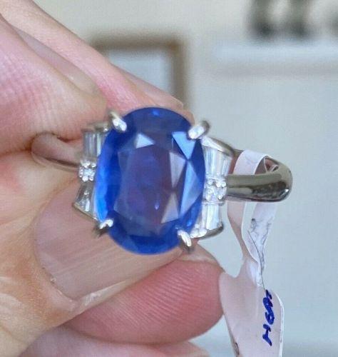 Superb Unheated 3.73ct Burma Blue Sapphire Platinum & Diamond Ring GIA