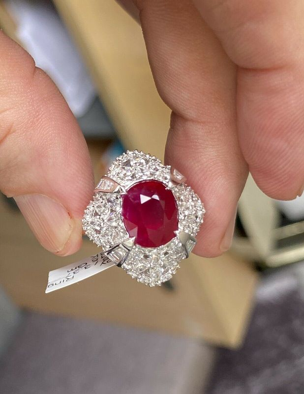 Sensational Unheated 6.16ct Burma Ruby & Diamond Ring GRS Certificate