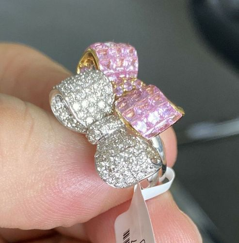 Beautiful Invisibly Set Pink Sapphire & Diamond 18k Ring