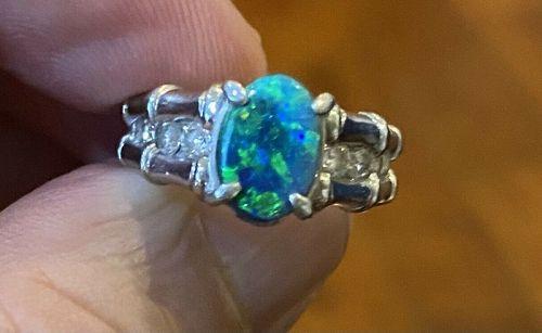 Exquisite 1.76ct Australian Black Opal & Diamond Platinum Ring