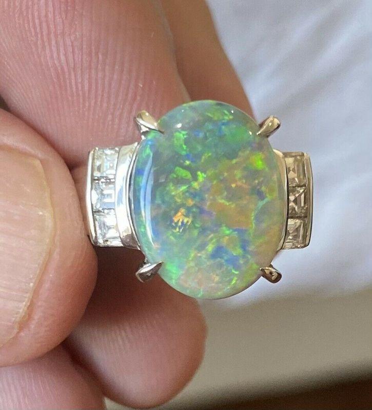 Breathtaking 4.18ct Australian Opal & Diamond Platinum Ring