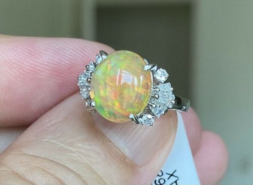 Stunning 3.63ct Mexico Fire Opal & Diamond Ring In Platinum